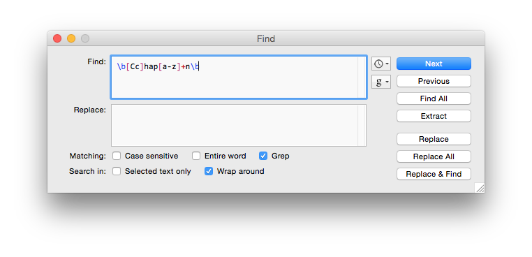 Using grep-style regex in BBEdit.