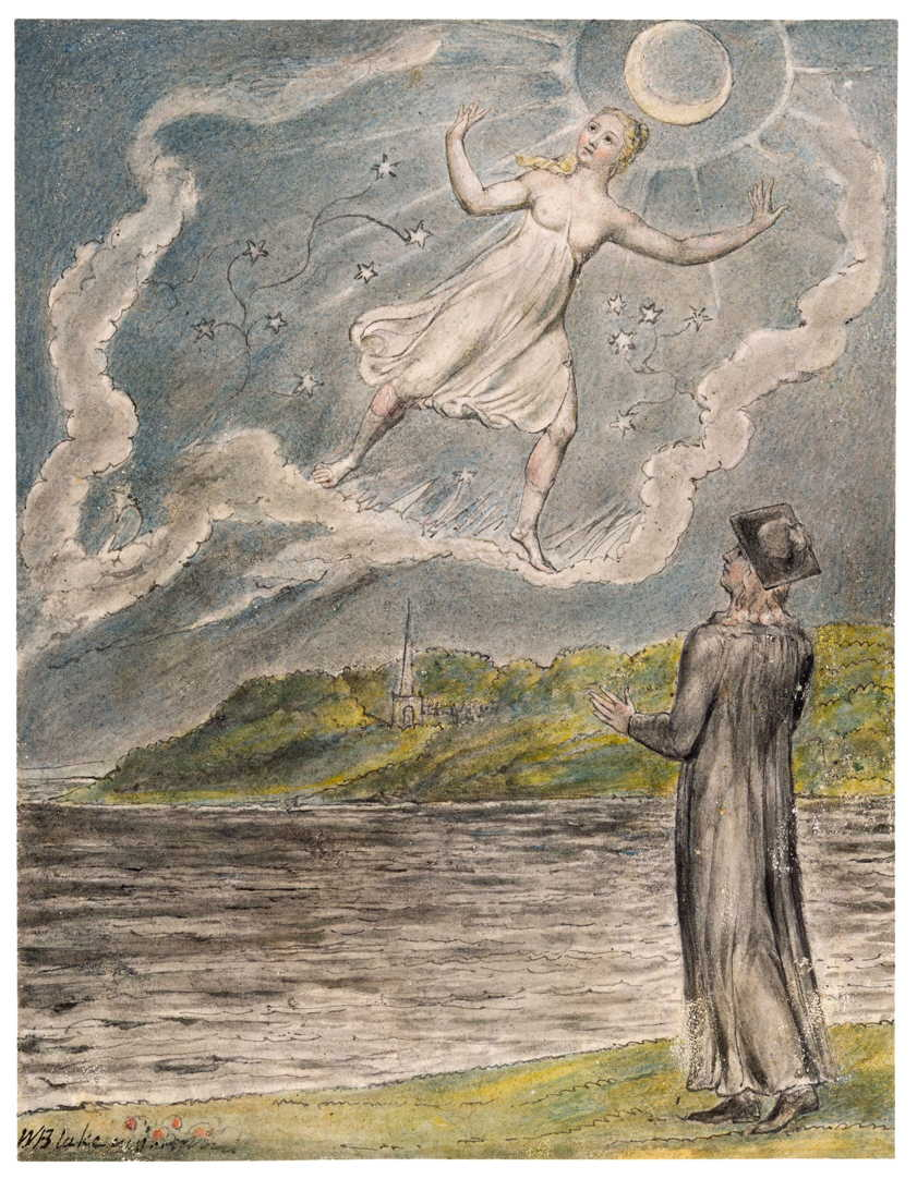 William Blake, The Wandering Moon (illustration to John Milton, L'Allegro and Il Penseroso) (1816-20), watercolour, 16 x 12 cm, various locations. WikiArt.
