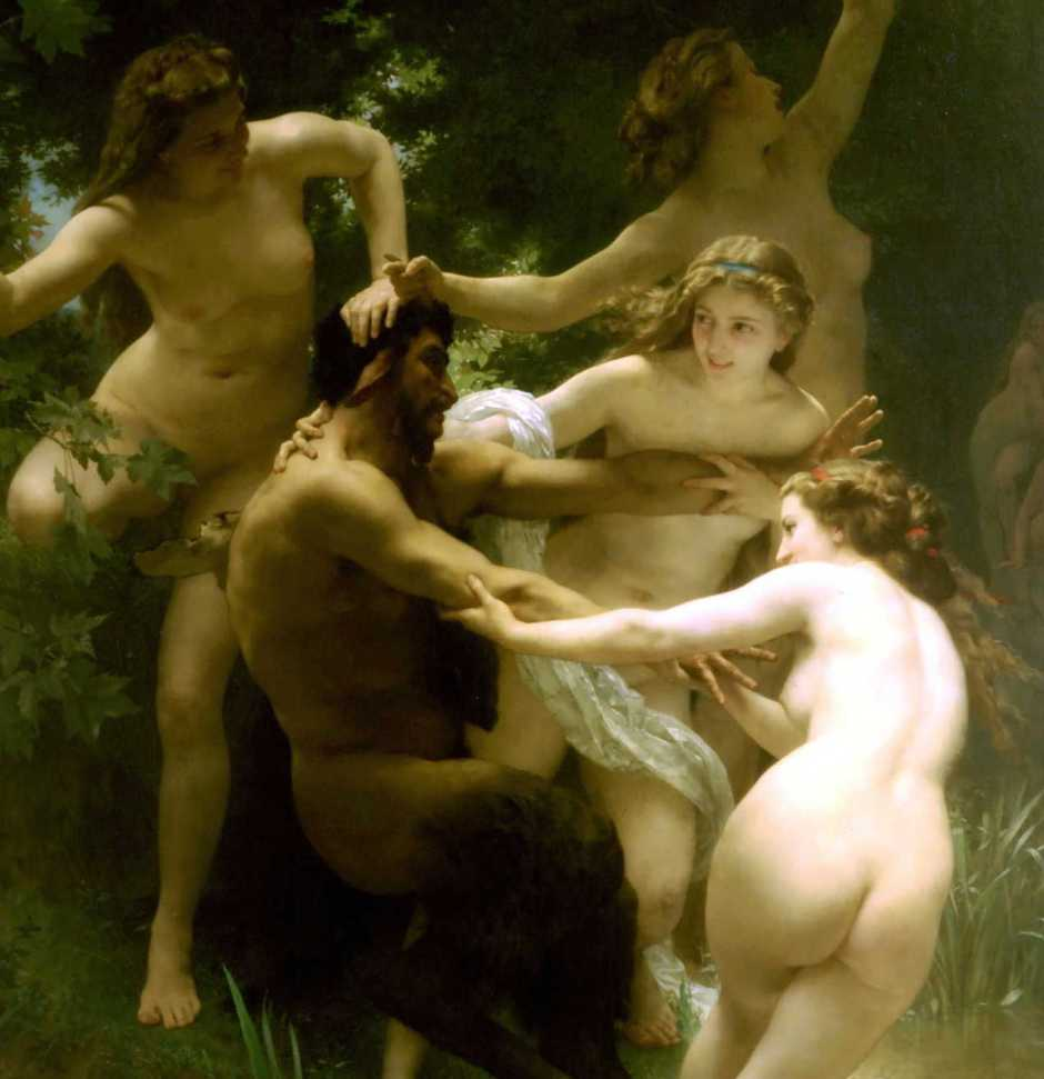 William-Adolphe Bouguereau, Nymphs and Satyr (detail) (1873), oil on canvas, 179.8 x 260 cm, Sterling and Francine Clark Art Institute, Williamstown, MA. WikiArt.