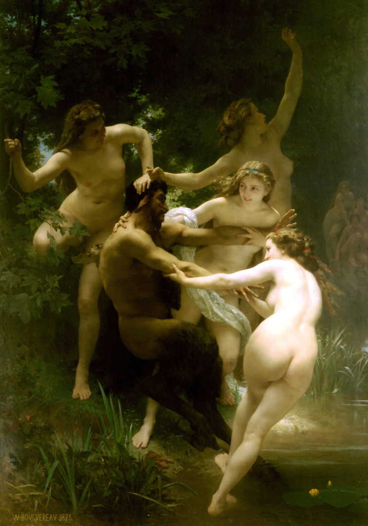 William-Adolphe Bouguereau, Nymphs and Satyr (1873), oil on canvas, 179.8 x 260 cm, Sterling and Francine Clark Art Institute, Williamstown, MA. WikiArt.