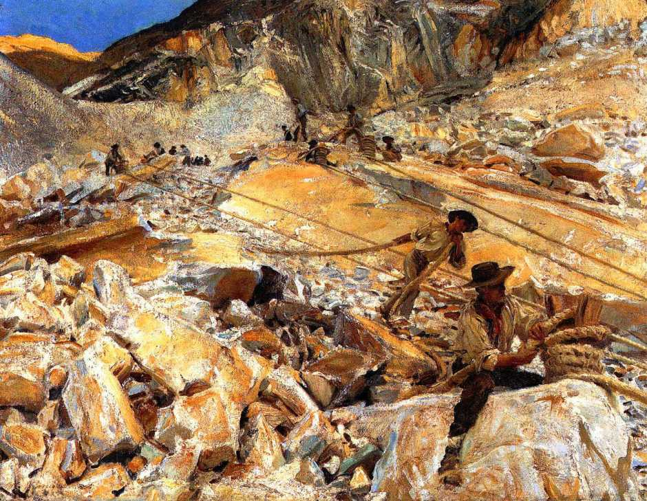 John Singer Sargent, Bringing Down Marble from the Quarries in Carrara (1911), oil on canvas, 71.5 x 91.8 cm, Metropolitan Museum of Art, New York, NY. WikiArt.