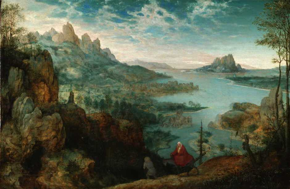 Pieter Brueghel the Elder, Landscape with the Flight into Egypt (1563), oil on panel, 37.1 x 55.6 cm, The Courtauld Institute of Art, London. Wikimedia Commons.