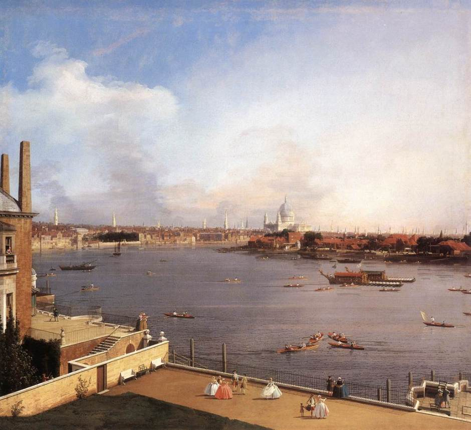 Canaletto (Giovanni Antonio Canal), The Thames and the City of London from Richmond House (1747), oil on canvas, 105 x 117.5 cm, Private collection. Wikimedia Commons.