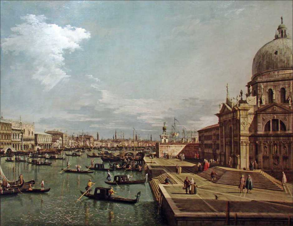 Canaletto (Giovanni Antonio Canal), The Entrance to the Grand Canal and the Church of Santa Maria della Salute, Venice (1735-40), oil on canvas, 119 x 153 cm, Musée du Louvre, Paris. By Jean-Pierre Dalbéra from Paris, France, via Wikimedia Commons.