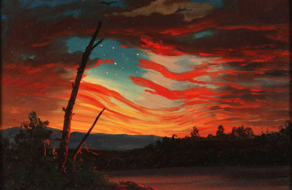 Frederic Edwin Church, Our Banner in the Sky (1861), oil on paper, 19.1 x 28.6 cm, Smithsonian Institute, Washington DC. Wikimedia Commons.