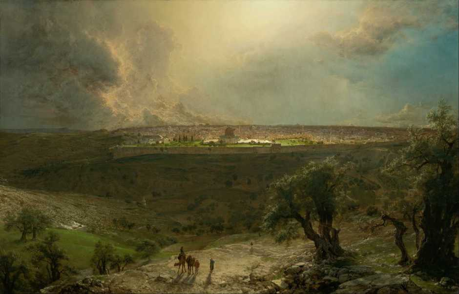 Frederic Edwin Church, Jerusalem from the Mount of Olives (1870), oil on canvas, 138 x 214.3 cm, Nelson-Atkins Museum of Art, Kansas City, MO. Wikimedia Commons.