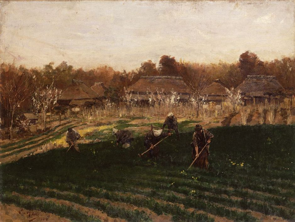 Asai Chū, Vegetable Garden in Spring (1889), oil on canvas, 84 x 102.5 cm, Tokyo National Museum, Tokyo. Wikimedia Commons.