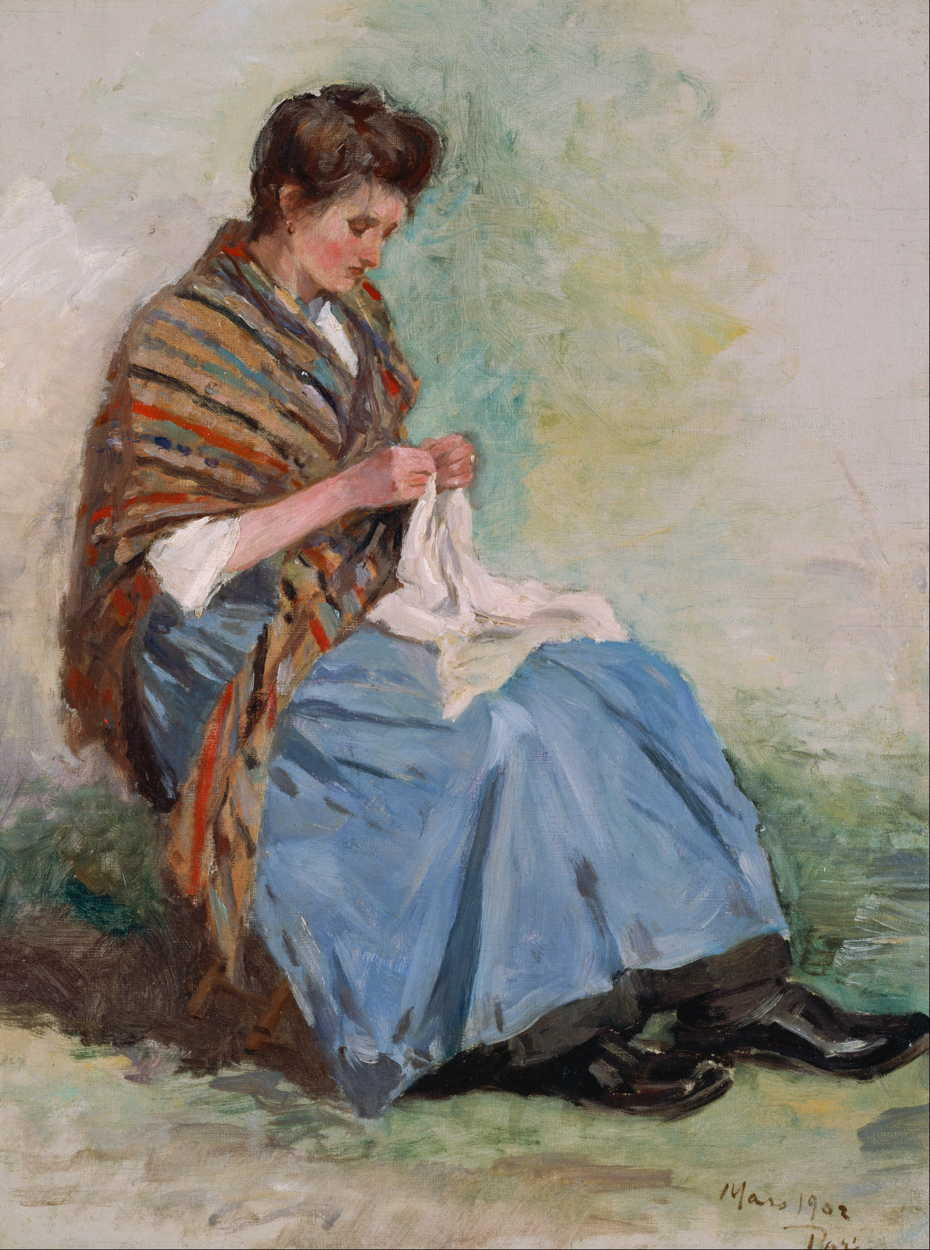 Asai Chū, Woman Sewing (1902), oil on canvas, 60.7 x 45.5 cm, Bridgestone Museum of Art, Tokyo. Wikimedia Commons.
