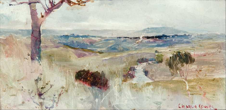 Charles Conder, Dandenongs from Heidelberg (c 1889), oil on wood panel, 11.5 x 23.5 cm, Art Gallery of South Australia, Adelaide. Wikimedia Commons.