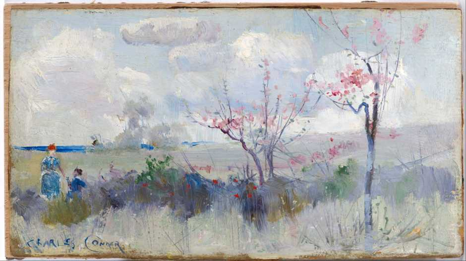 Charles Conder, Herrick's Blossoms (c 1888), oil on cardboard, 131 x 240 cm, National Gallery of Australia, Parkes, ACT. Wikimedia Commons.