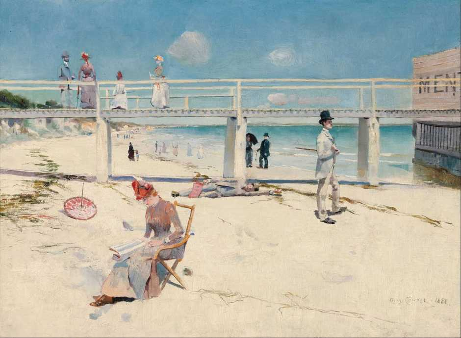 Charles Conder, A Holiday at Mentone (1888), oil on canvas, 46.2 x 60.8 cm, Art Gallery of South Australia, Adelaide. Wikimedia Commons.