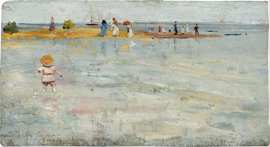 Charles Conder, Ricketts Point, Beaumaris (1890), oil on wood panel, 12 x 21.5 cm, National Gallery of Australia, Parkes, ACT. Wikimedia Commons.