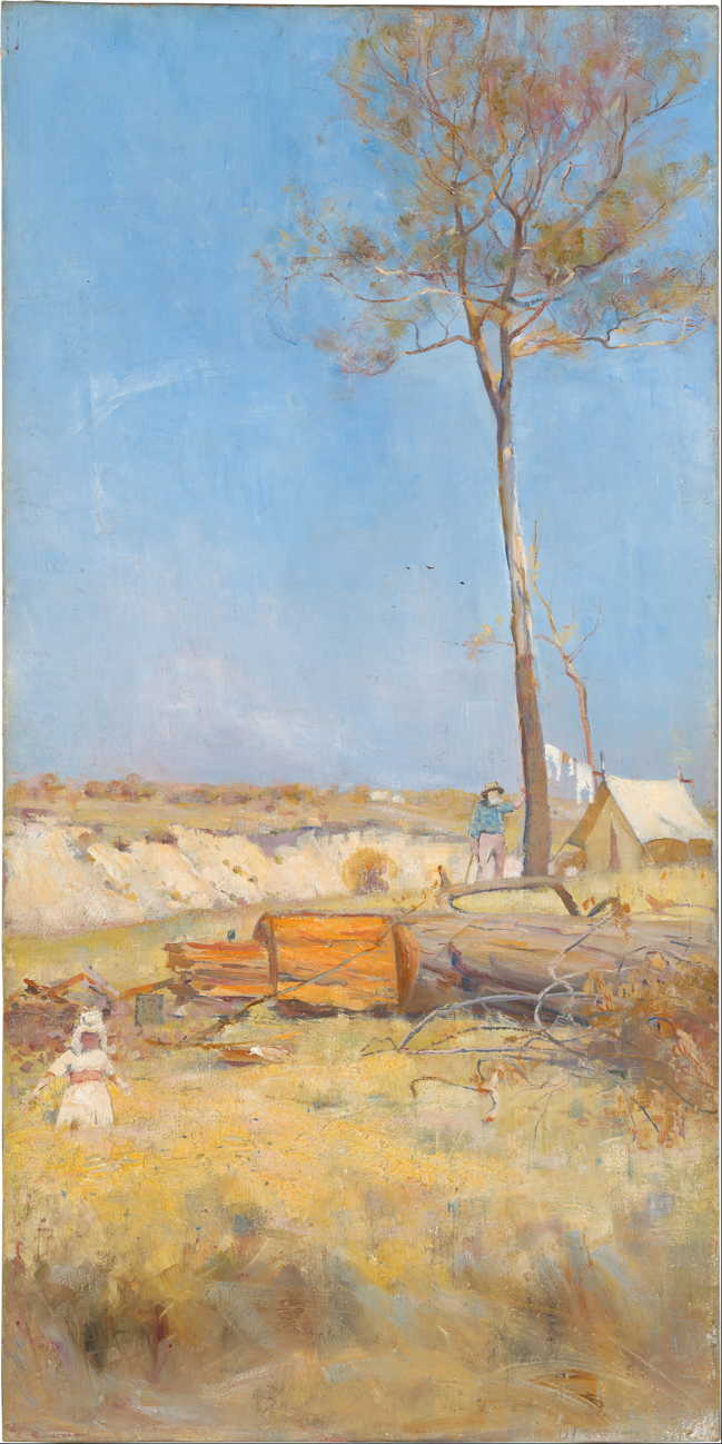 Charles Conder, Under a Southern Sun (Timber Splitter's Camp) (1890), oil on canvas, 71.5 x 35.5 cm, National Gallery of Australia, Parkes, ACT. Wikimedia Commons.