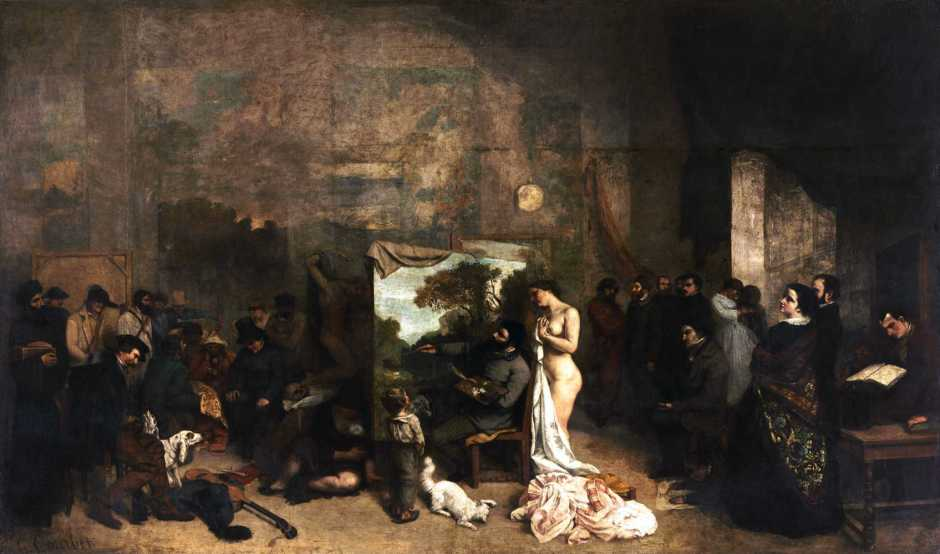 Gustave Courbet, The Painter's Studio: a Real Allegory of a Seven Year Phase in my Artistic (and Moral) Life (1855), oil on canvas, 361 x 598 cm, Musée d'Orsay, Paris. Wikimedia Commons.