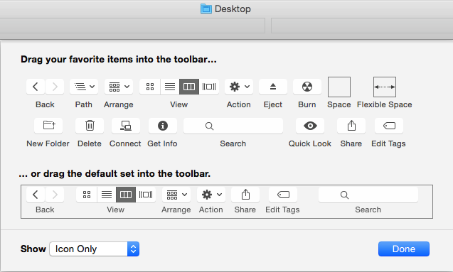 The Customise Toolbar… command in Finder's View menu lets you clean up and adjust the toolbar in Finder views.