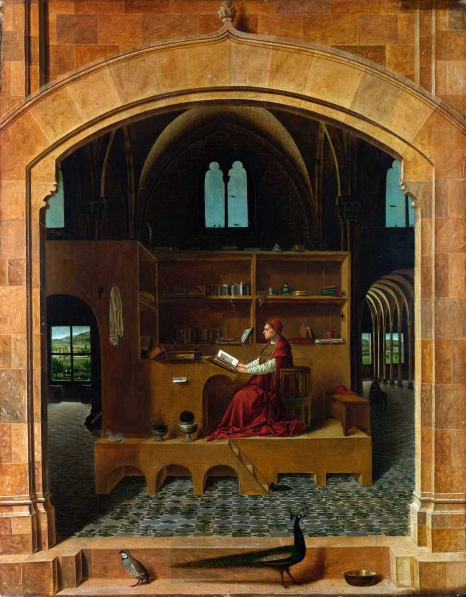 Antonello da Messina, Saint Jerome in his Study (c 1475), oil on lime, 45.7 x 36.2 cm, The National Gallery, London. Wikimedia Commons.