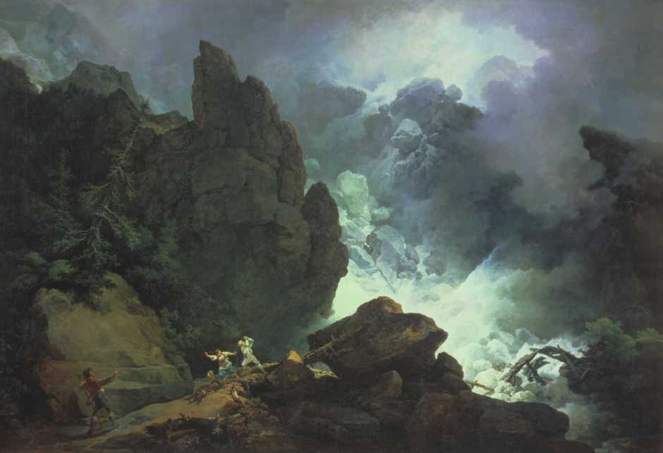 Philip James de Loutherbourg, An Avalanche in the Alps (1803), oil on canvas, 109.9 x 160 cm, Musée des Beaux-Arts de Strasbourg (loan from Tate Gallery, London). Wikimedia Commons.