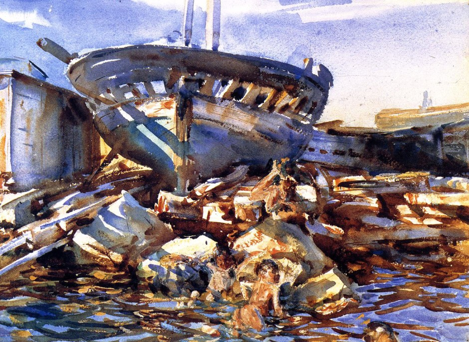 John Singer Sargent, Flotsam and Jetsam (1908), watercolour on paper, 34.6 x 47.3 cm, Portland Museum of Art, Portland, Maine. WikiArt.