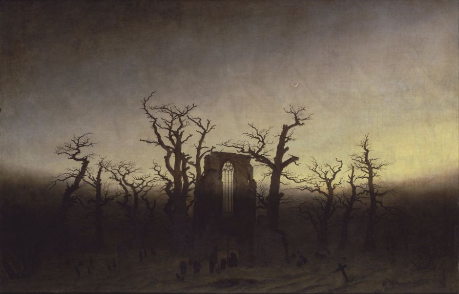 Caspar David Friedrich, The Abbey in the Oak Wood (1808–10), oil on canvas, 110.4 × 171 cm, Alte Nationalgalerie, Berlin. Wikimedia Commons.