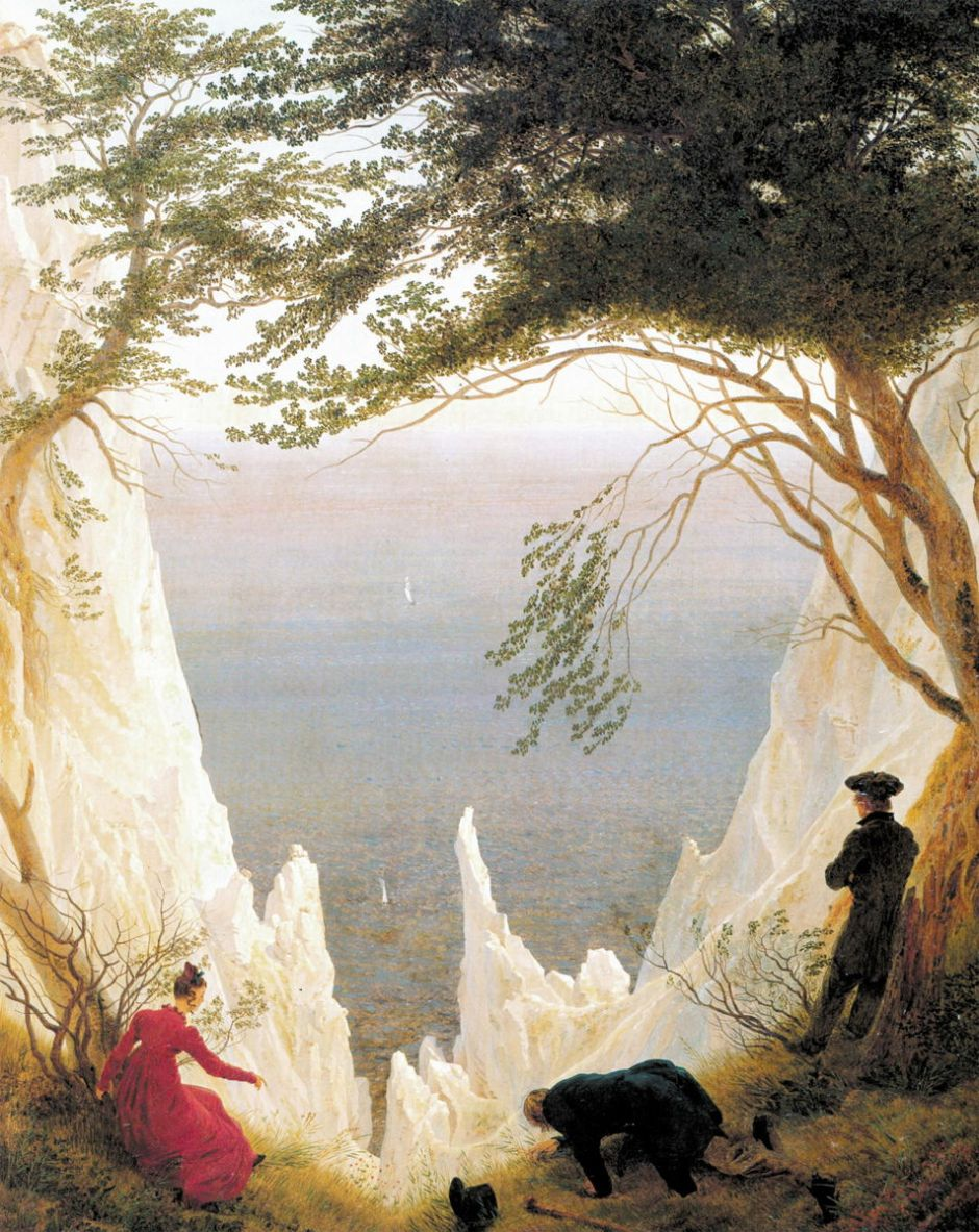 Caspar David Friedrich, Chalk Cliffs on Rügen (after 1818), oil on canvas, 90.5 × 71 cm, Museum Oskar Reinhart am Stadtgarten, Winterthur, Switzerland. Wikimedia Commons.
