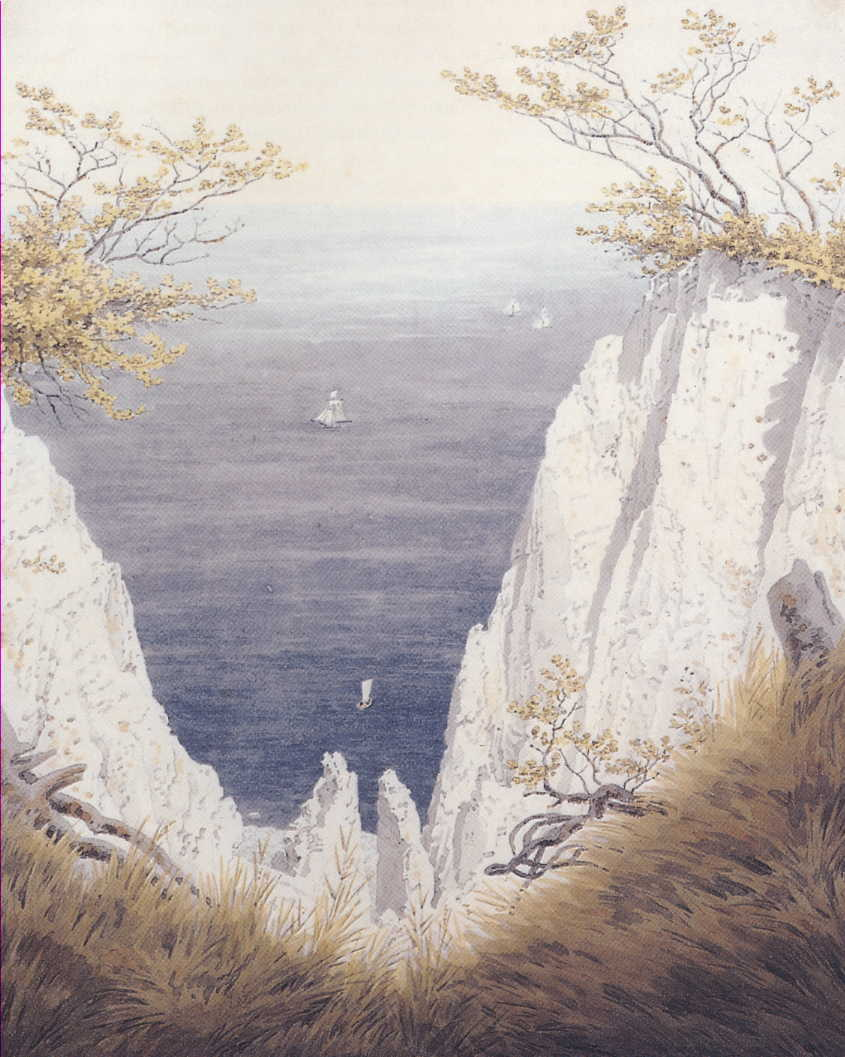 Caspar David Friedrich, Chalk Cliffs on Ruegen (c 1825-6), watercolor and pencil on paper, 31.7 x 25.2 cm, Museum der bildenden Künste, Leipzig. Wikimedia Commons.