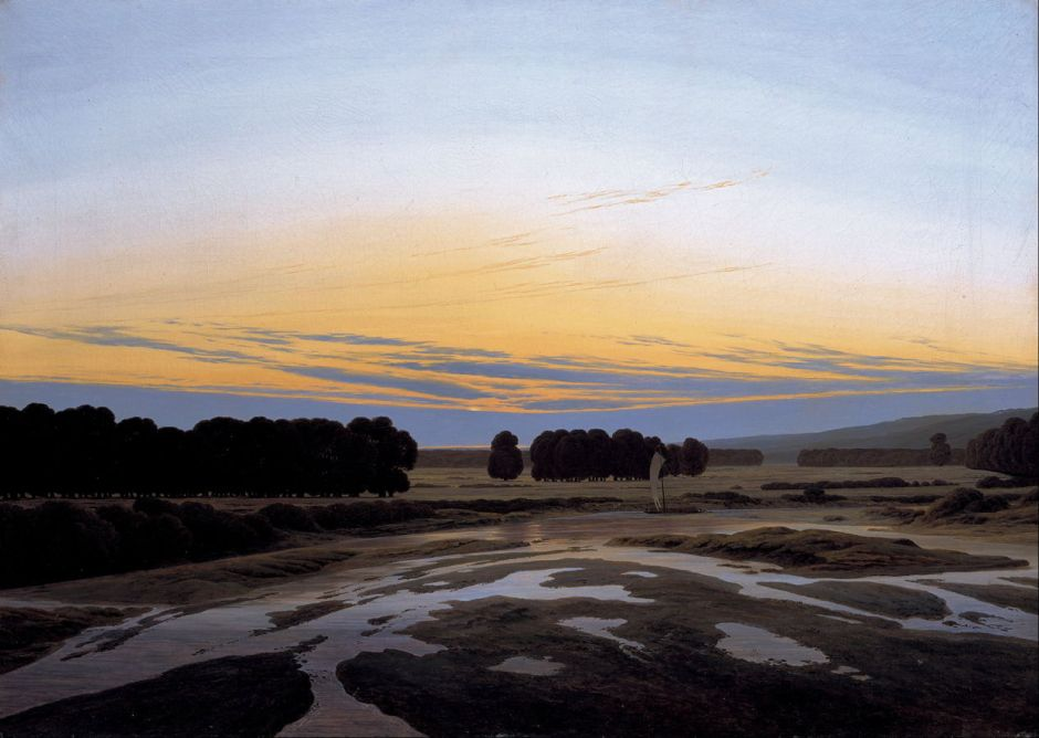 Caspar David Friedrich, The Large Enclosure (c 1832), oil on canvas, 73.5 × 103 cm, New Masters Gallery, Dresden. Wikimedia Commons.
