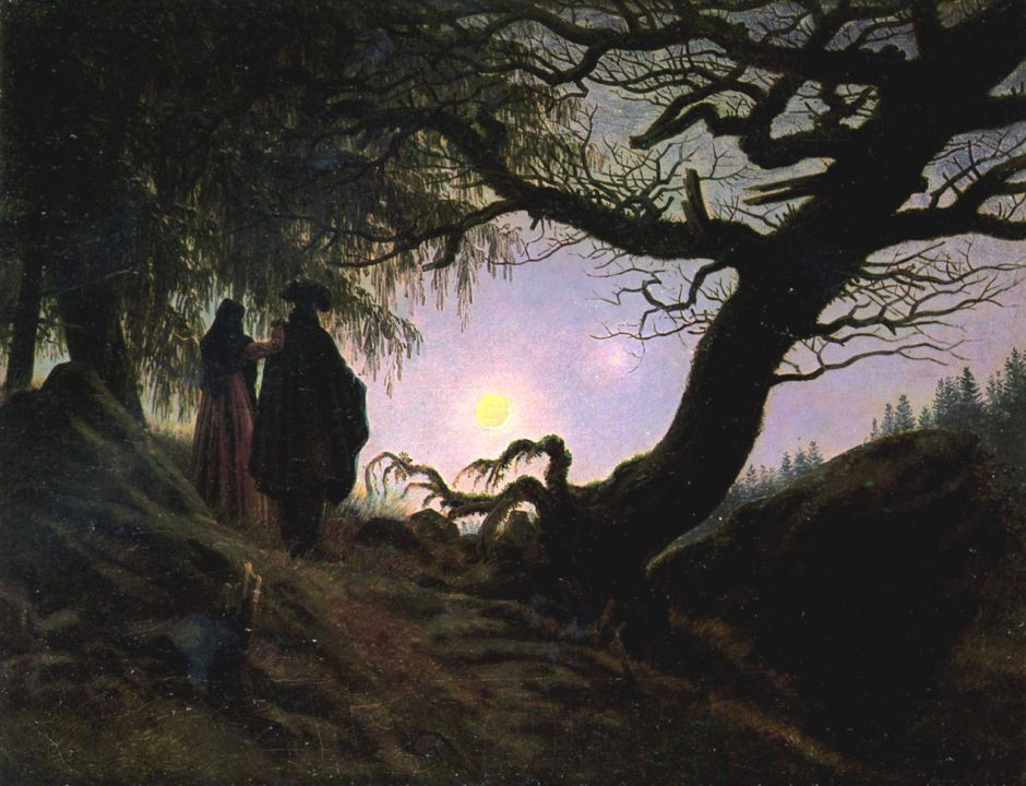 Caspar David Friedrich, Man and Woman Contemplating the Moon (c 1827), oil on canvas, 34 × 44 cm, Alte Nationalgalerie, Berlin. Wikimedia Commons.