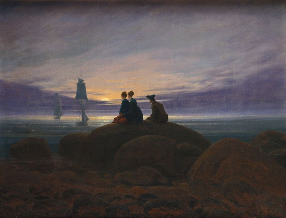 Caspar David Friedrich, Moonrise by the Sea (1822), oil on canvas, 55 × 71 cm, Alte Nationalgalerie, Berlin. Wikimedia Commons.