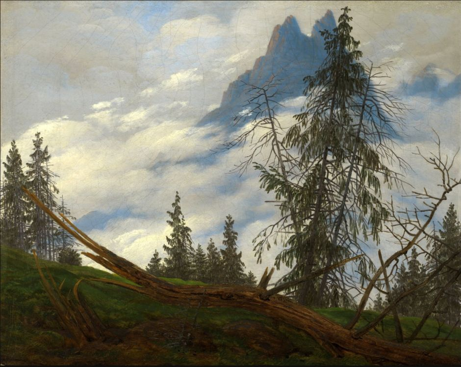 Caspar David Friedrich, Mountain Peak with Drifting Clouds (c 1835), oil on canvas, 25.1 × 30.6 cm, Kimbell Art Museum, Fort Worth, TX. Wikimedia Commons.