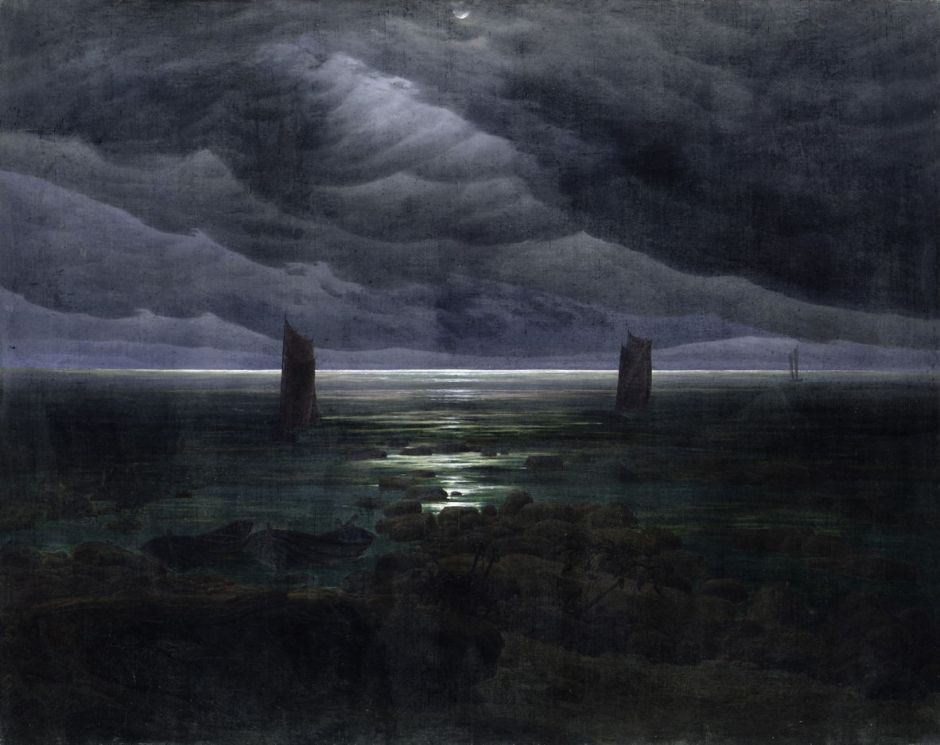 Caspar David Friedrich, Seashore by Moonlight (1835–36), oil on canvas, 134 × 169.2 cm, Kunsthalle, Hamburg. Wikimedia Commons.