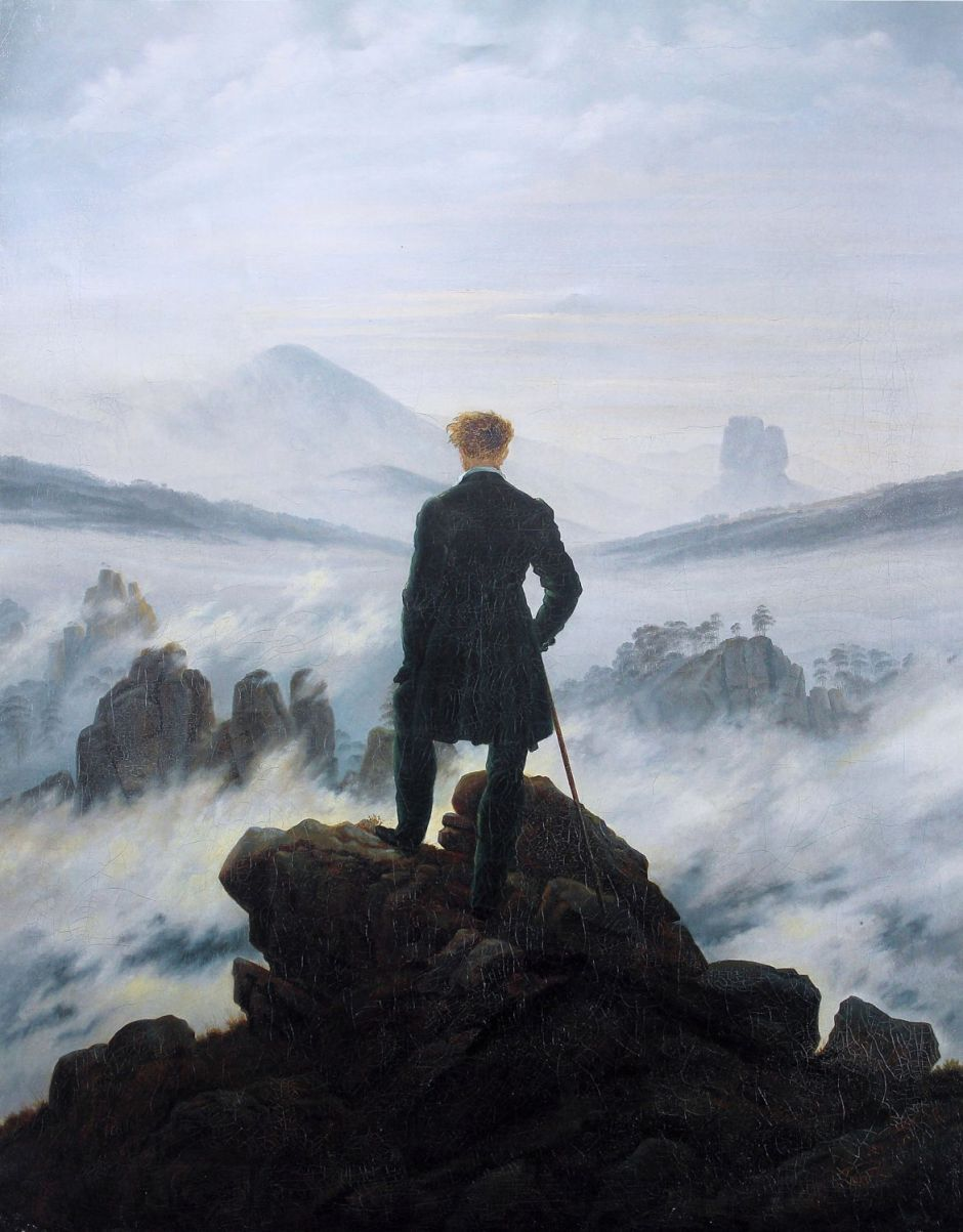 Caspar David Friedrich, Wanderer above the Sea of Mists (1818), oil on canvas, 94.8 × 74.8 cm, Kunsthalle Hamburg. Wikimedia Commons.