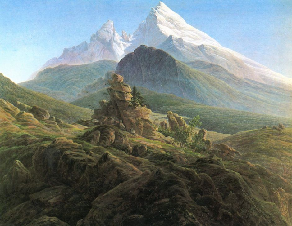 Caspar David Friedrich, The Watzmann (1824-5), oil on canvas, 133 x 170 cm, Alte Nationalgalerie, Berlin. Wikimedia Commons.