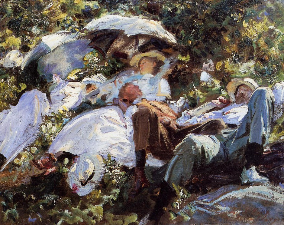 John Singer Sargent, Group with Parasols (A Siesta) (c 1905), oil on canvas, 55.2 x 70.8 cm, Private collection (sold in 2004 for $23.5 million). WikiArt.