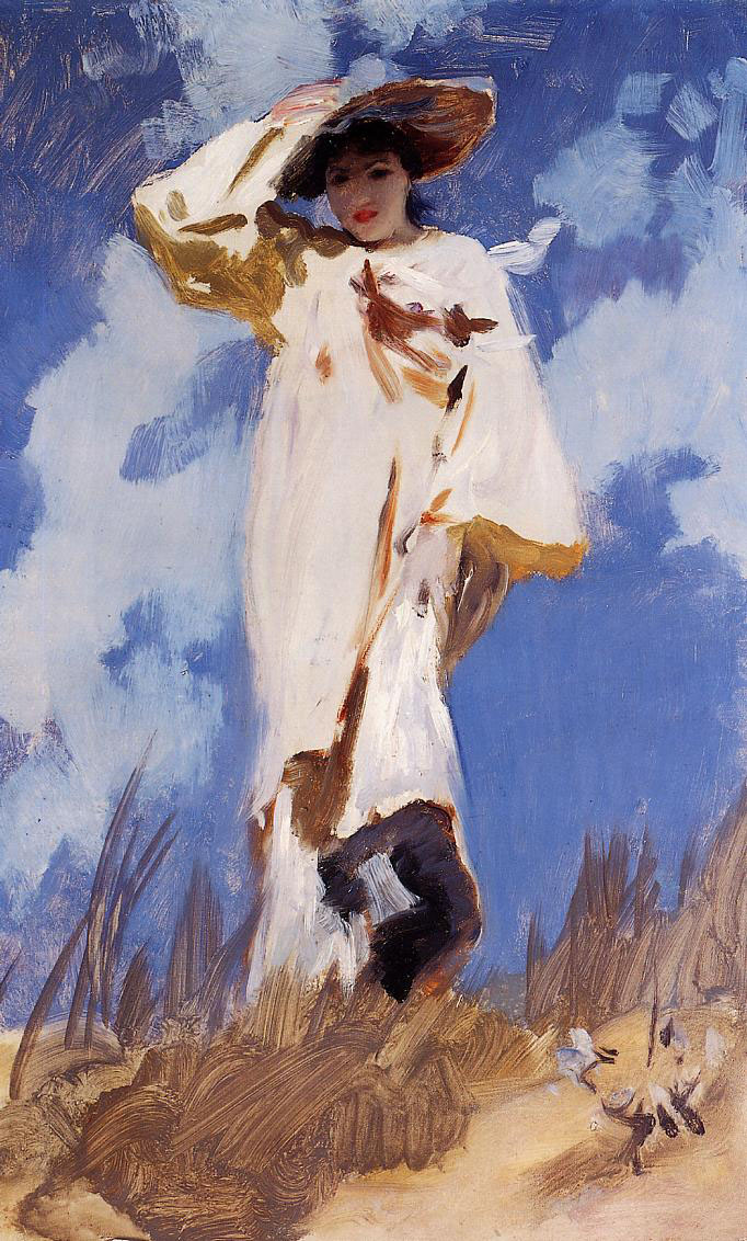 John Singer Sargent, A Gust of Wind (c 1886-7), oil on canvas, 61.6 x 38.1 cm, Private collection. WikiArt.