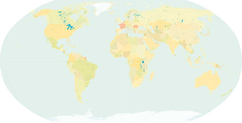 Known Impressionist artists worldwide during the 1860s; countries are coloured pink.