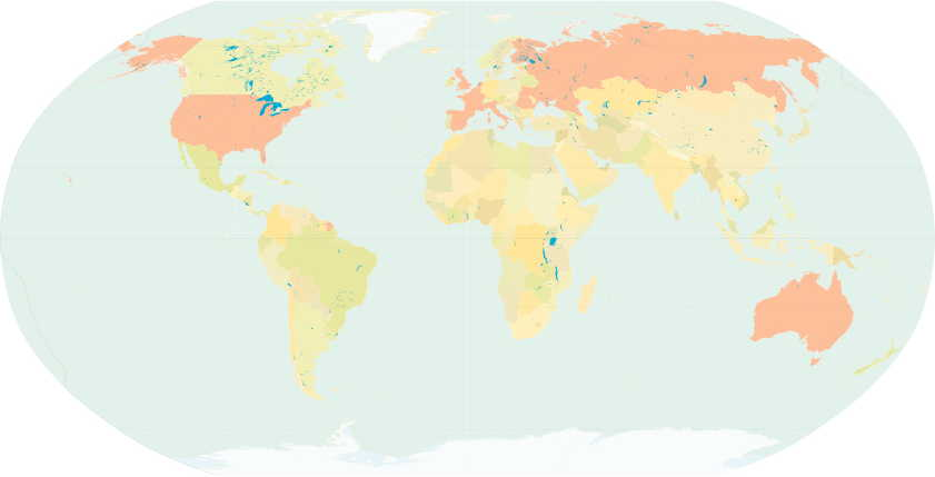 Known Impressionist artists worldwide during the 1880s; countries are coloured pink.
