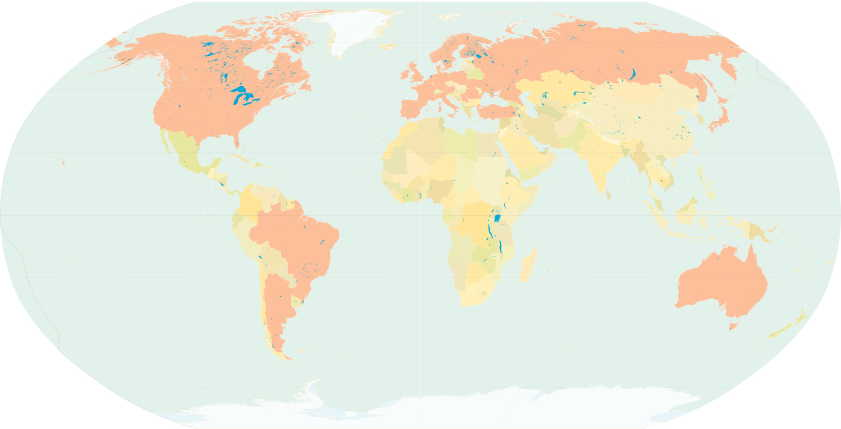 Known Impressionist artists worldwide by about 1910; countries are coloured pink.