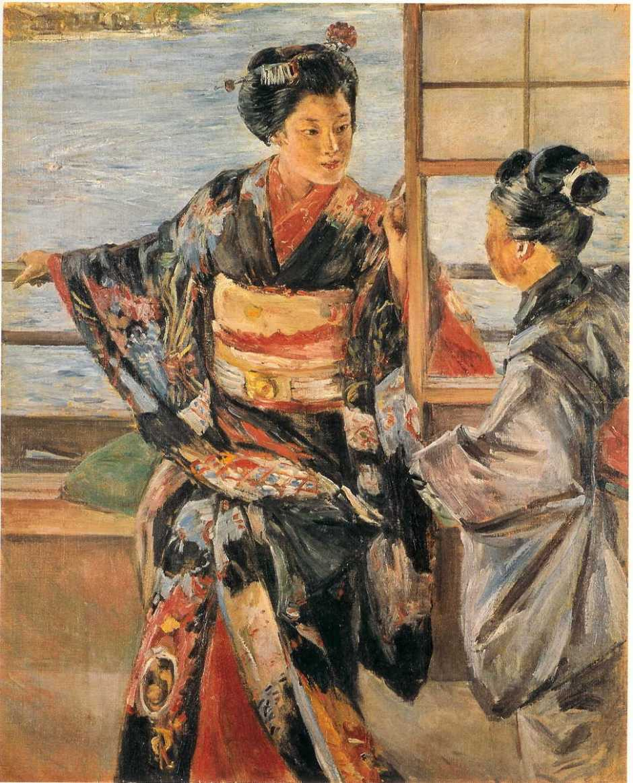 Kuroda Seiki, Maiko Girl (1893), oil on canvas, 80.4 x 65.3 cm, Tokyo National Museum, Tokyo. Wikimedia Commons.