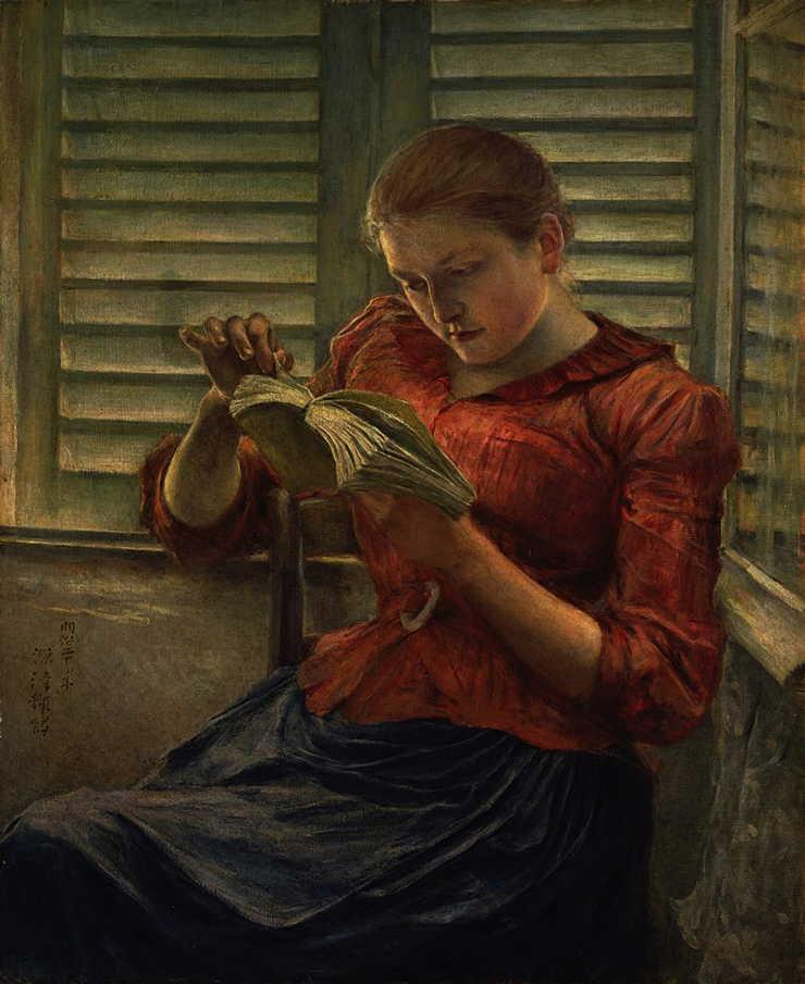 Kuroda Seiki, Woman Reading (c 1890), oil on canvas, 38.6 x 30.9 cm, Tokyo National Museum, Tokyo. Wikimedia Commons.