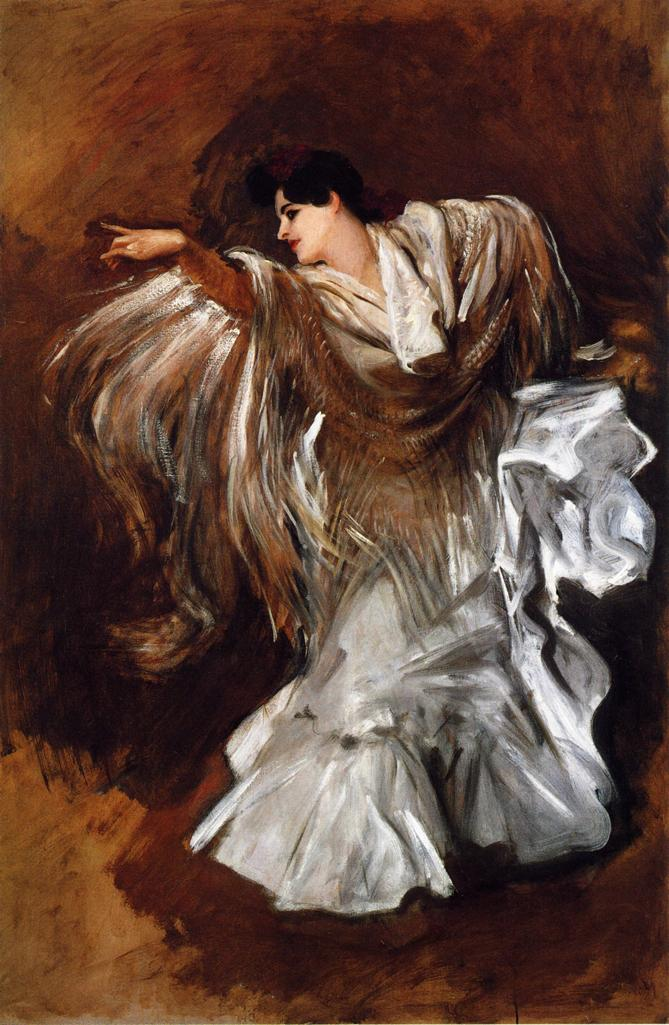 John Singer Sargent, La Carmencita (1890), oil on canvas, 54 x 35 cm, Private collection. WikiArt.