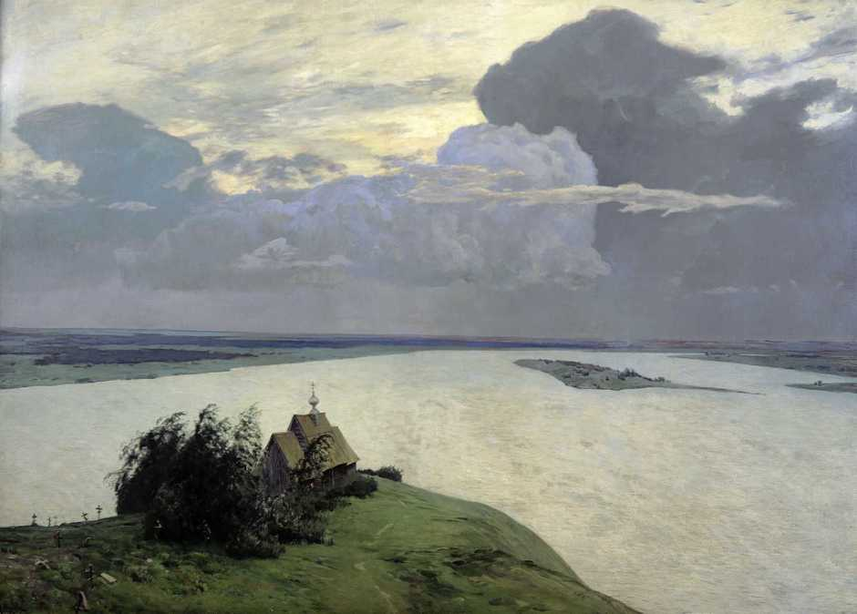Isaac Levitan, Above Eternal Rest (1893-4), oil on canvas, 150 x 206 cm, Tretyakov Gallery, Moscow. Wikimedia Commons.