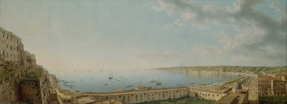 Giovanni Battista Lusieri, A View of the Bay of Naples, Looking Southwest from the Pizzofalcone Toward Capo di Posilippo (1791), Watercolor, gouache, graphite, and pen and ink on six sheets of paper, 101.8 x 271.9 cm, The J. Paul Getty Museum, CA. Wikimedia Commons.