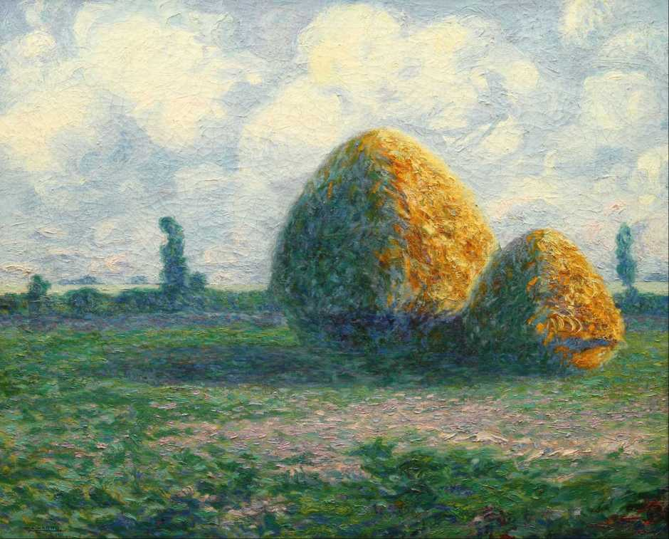 Martín Malharro, Grainstacks (Las Parvas, la pampa de hoy) (1911), oil on canvas, 65.5 x 82 cm, National Museum of Fine Arts in Buenos Aires, Argentina. Wikimedia Commons.
