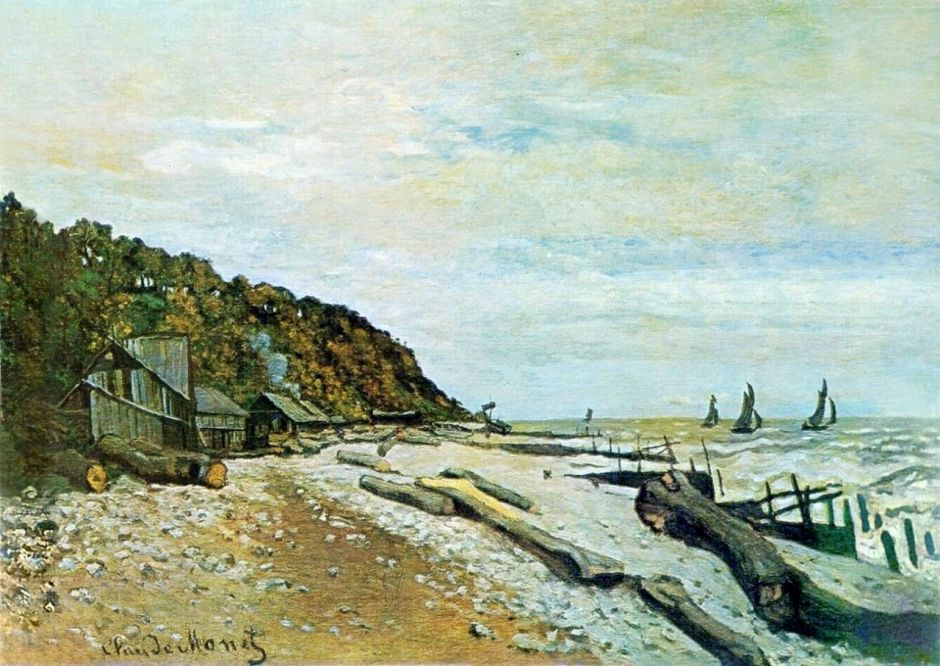 Claude Monet, Boatyard near Honfleur (1864), oil on canvas, 57.3 x 81.3 cm, Private collection. WikiArt.