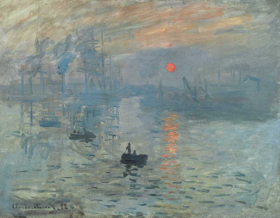 Claude Monet, Impression, Sunrise (1872), oil on canvas, 63 x 48 cm, Musée Marmottan Monet, Paris. WikiArt.
