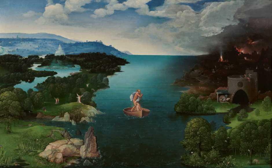 Joachim Patinir, Crossing the River Styx (1520-4), oil on panel, 64 x 103 cm, Museo Nacional del Prado, Madrid. Wikimedia Commons.