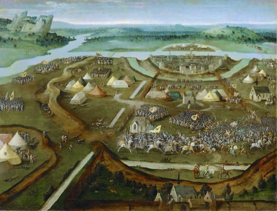 (Attr. Joachim Patinir), The Battle of Pavia (c 1530), oil, 32 x 41 cm, Kunsthistorisches Museum, Vienna. Wikimedia Commons.