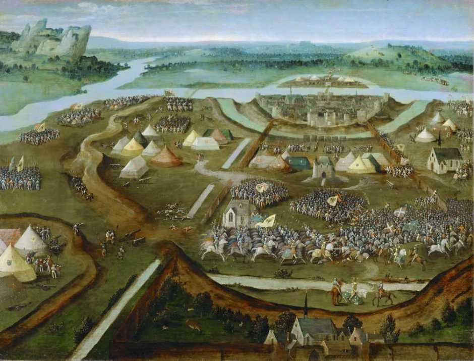 (Attr. Joachim Patinir), The Battle of Pavia (c 1530), oil, 32 x 41 cm, Kunsthistorisches Museum, Vienna. Wikimedia Commons.
