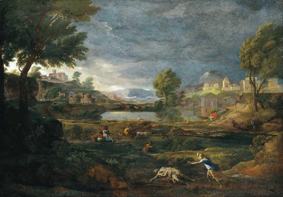 Nicolas Poussin, Stormy Landscape with Pyramus and Thisbe (1651), oil on canvas, 191 x 274 cm, Städelsches Kunstinstitut und Städtische Galerie, Frankfurt am Main, German. Wikimedia Commons.