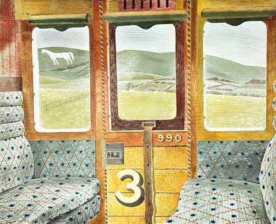 Eric Ravilious, Train Landscape (1940), watercolour and pencil on paper (collage), 44.1 x 54.8 cm, Aberdeen Art Gallery & Museums Collection, Aberdeen, Scotland. WikiArt.